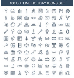 100 holiday icons vector