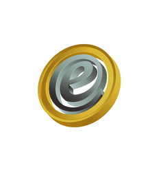 3d circle initial letter e in gold grey color vector image