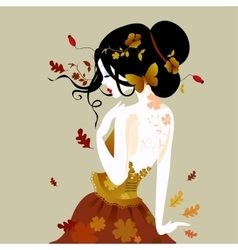 a cute woman in autumn vector image vector image