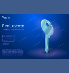 a key in ultraviolet colors vector image