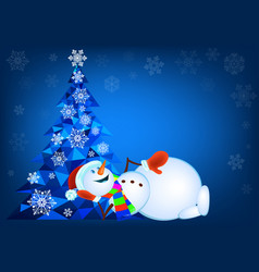 abstract christmas tree and lying snowman vector image