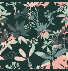 Abstract floral seamless pattern silhouettes of vector