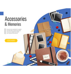 accessories and memories design concept vector image