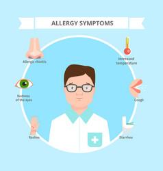 Allergy symptoms cartoon flat vector