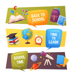 back to school banner set cartoon elements vector image