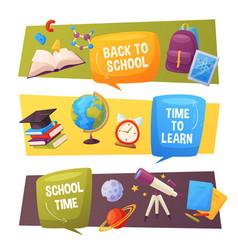 Back to school banner set cartoon elements vector