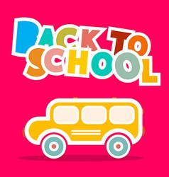 Back to School Bus - Paper on Pink Backgroun vector image