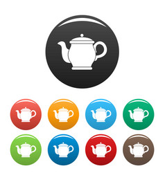 beautiful teapot icons set color vector image