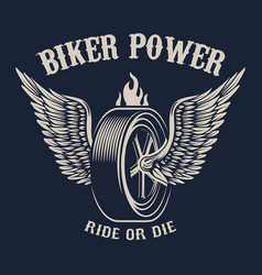 Biker power wheel with wings design elements for vector