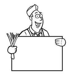 Black and white greengrocer holding a sign vector image