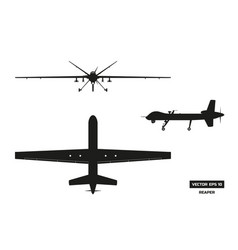 Black silhouette of military drone vector