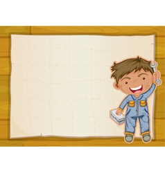 boy and a paper sheet vector image vector image
