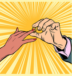 bride and groom wedding ring caucasian vector image
