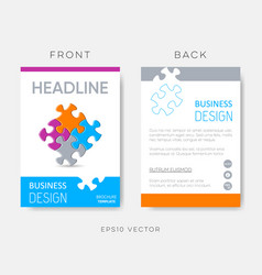 brochure template puzzle pieces vector image