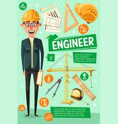 builder engineer or worker cartoon man vector image