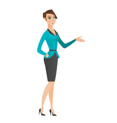 Business woman with arm out in a welcoming gesture vector
