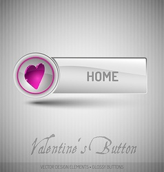 Button with pink heart Modern design elements with vector