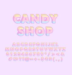 Candy shop vintage 3d alphabet set vector