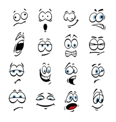 Cartoon eyes face expressions and emotions vector image vector image