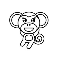 cartoon monkey animal outline vector image