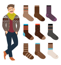 casual style male socks set vector image