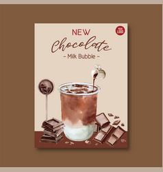 Chocolate bubble milk tea set poster ad flyer vector