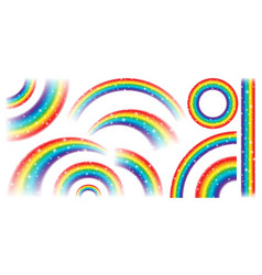 colorful realistic rainbow collection isolated vector image