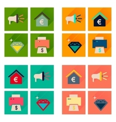 Concept of flat icons with long shadow economics vector image