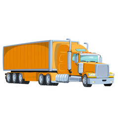 cool semi trailer truck with sleeper towing vector image