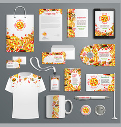 Corporate identity items fast food vector