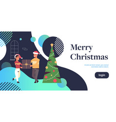 couple holding gift present box merry christmas vector image