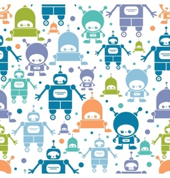 Cute colorful cartoon robots seamless pattern vector