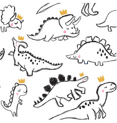 cute dinosaur and doodles seamless pattern vector image