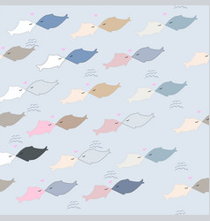 Cute dolphin cartoon seamless pattern vector
