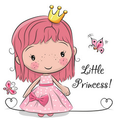 Cute fairy-tale princess on a white background vector