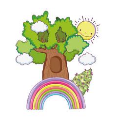 cute fairytale tree with rainbow vector image