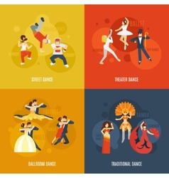 Dance Flat Set vector image