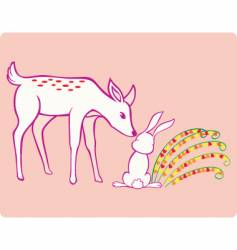 deer and rabbit vector image