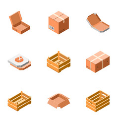 delivery packing box icon set isometric style vector image
