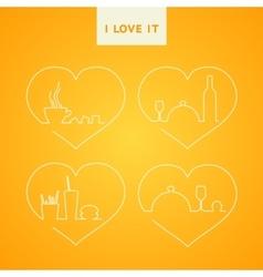 design line food set vector image