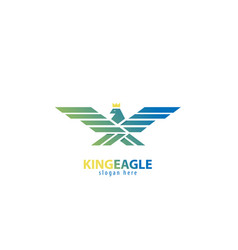 Eagle king with wings- logo vector