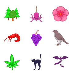 Earth kingdom icons set cartoon style vector