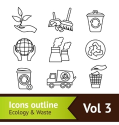 Ecology icon set outline vector