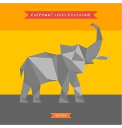 Elephant logo with reflux and low poly geometry vector