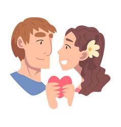 enamored couple in love holding heart feeling vector image