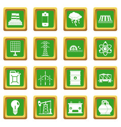 Energy sources items icons set green vector