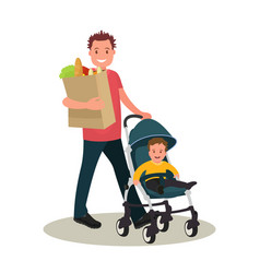 father with food bag and bain a stroller vector image