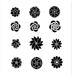 flower silhouettes shaps vector image