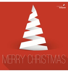 Folded paper Christmas tree mock up vector image