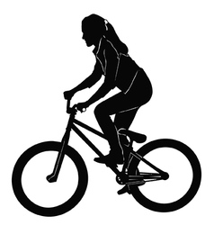 Girl riding a bicycle in black and white vector